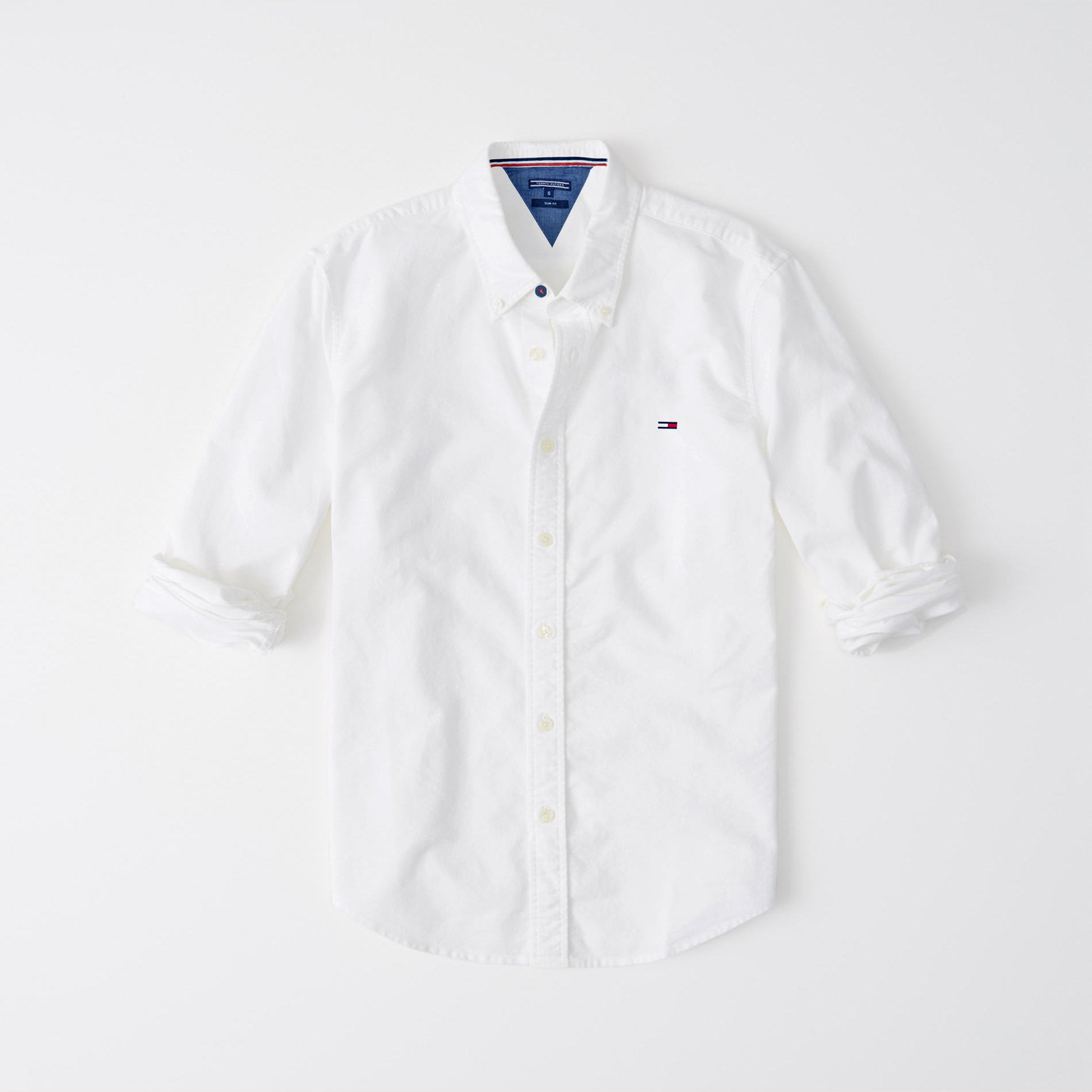 019327c97d3cb2 Tommy Hilfiger Slim Fit Long Sleeve Button Down Casual Shirts For Men-White -NA8136