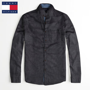 Tommy Hilfiger Long Sleeve Casual Shirt For Men-Black With Lining-NA598