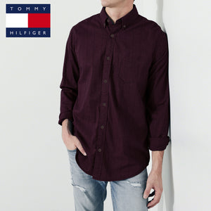 Tommy Hilfiger Long Sleeve Casual Shirt For Men-Dark Burgundy With Lining-NA597