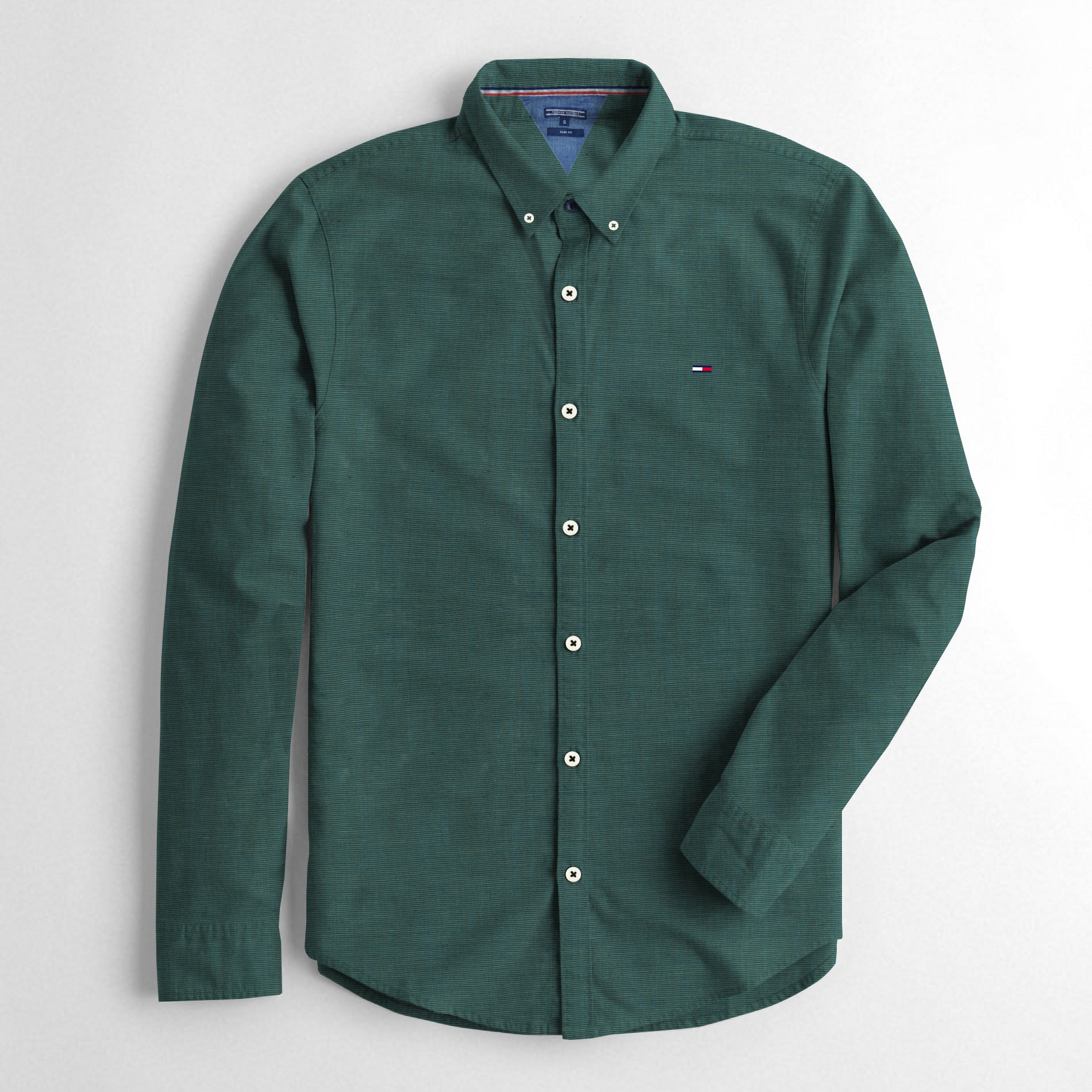 b0060817 Tommy Hilfiger Slim Fit Long Sleeve Button Down Casual Shirts For Men-Green  Melange-