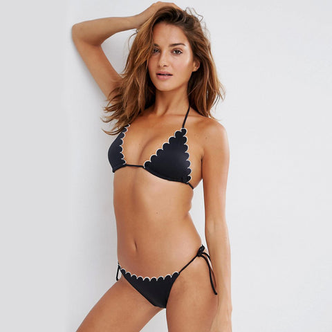 Top and Tie Side Bikini Bottom Swimsuit For Women-Black-NA5512