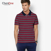 ChenOne Polo Shirt For Men-Burgundy & Gray Stripe-BE2466