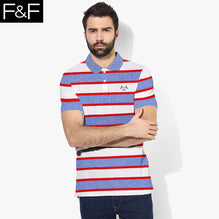 F&F Polo Shirt For Men-Blue Melange With White & Red Striped-BE2462