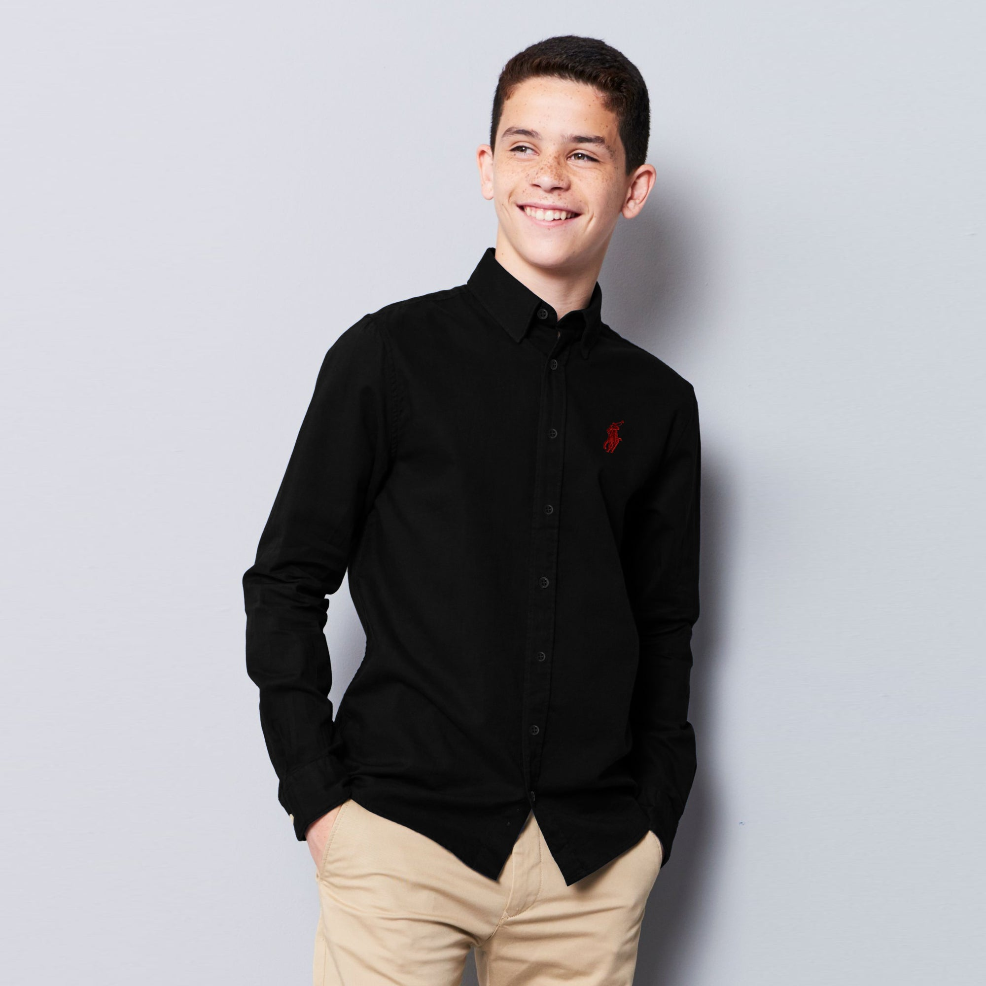 U.S Polo Premium Slim Fit Casual Shirt For Boys-Black-NA12015
