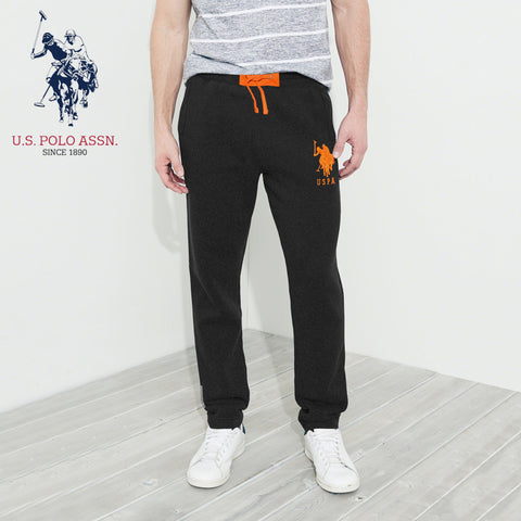 U.S Polo Assn Single Jersey Trouser For Men-Black Melange With Orange Embroidery-NA908