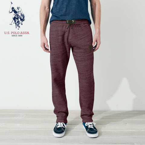 U.S Polo Assn Single Jersey Trouser For Men-Dark Burgundy Melange With Green Embroidery-NA906