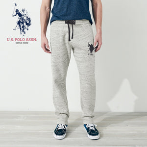 U.S Polo Assn Single Jersey Trouser For Men-Light Cream Melange With Charcoal Embroidery-NA902