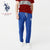 U.S Polo Assn Single Jersey Trouser For Men-Royal Blue Melange With Silver Embroidery-NA878