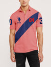 US Polo Muscle Fit Stylish Fashion Shirt For Men-Pink With Blue Panel-NA10851