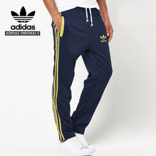 Adidas Cotton Trouser For Men-Dark Navy With Yellow Pocket & Stripes-BE1071