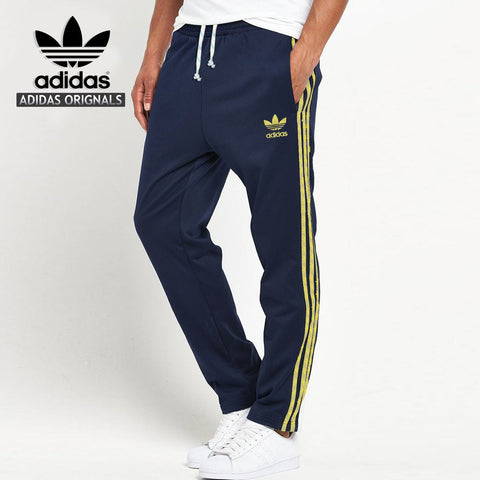 Adidas Cotton Trouser For Men-Dark Navy With Yellow Stripes-BE977