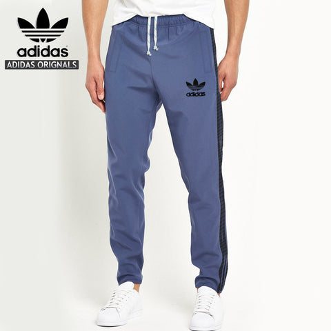 Adidas Cotton Trouser For Men-Light Sky With Light Black Stripes-BE1065