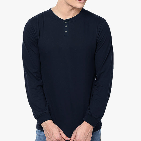 "Men's ""Next"" Full Sleeve Henley Shirt- Navy - BE490"