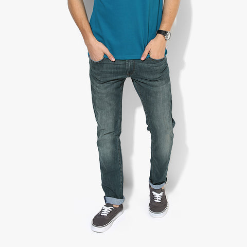 "Men's ""Zara Man"" Slim Fit Strech Denim Cyan Green Faded -ND49"