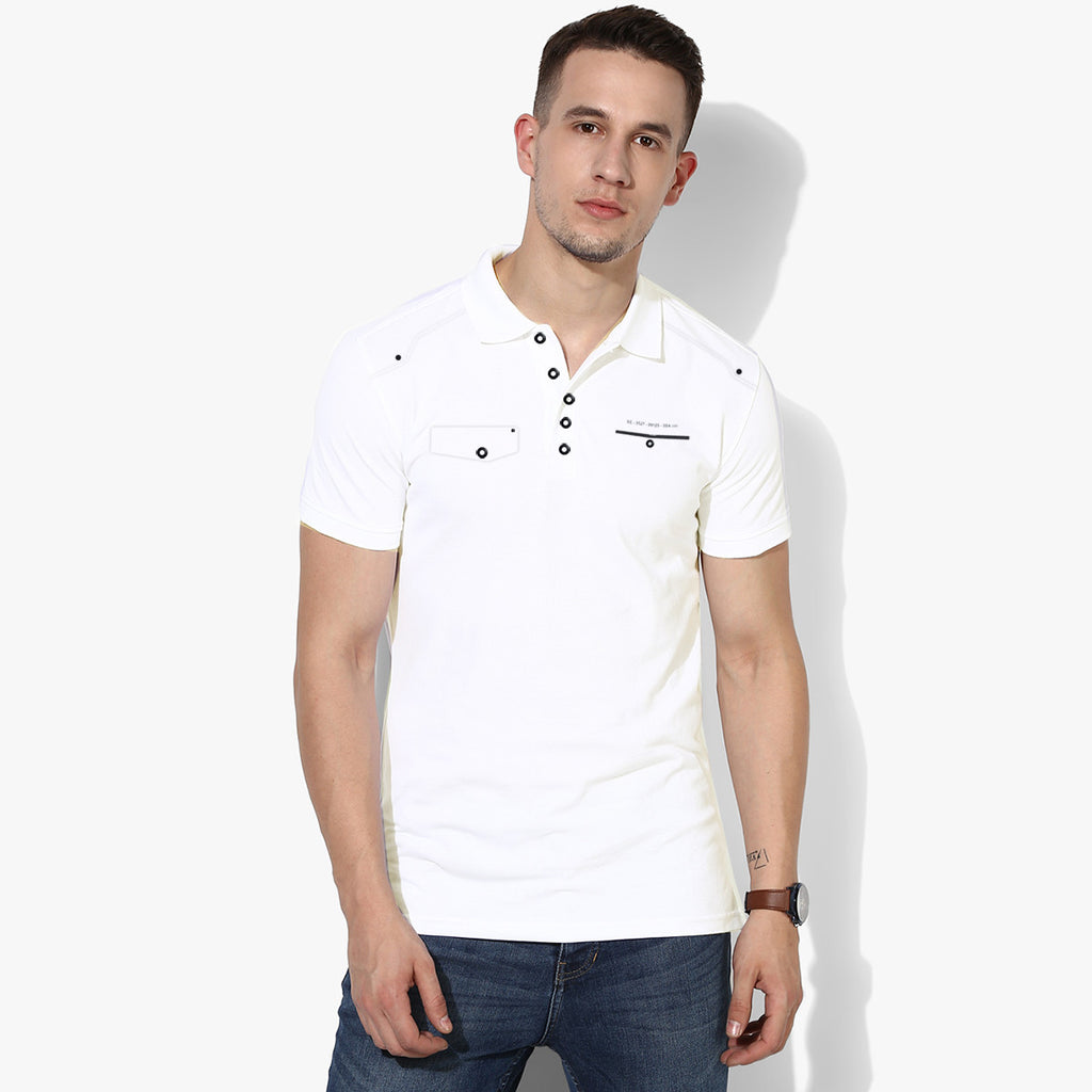 George Casual Polo Pocket Style For Men Cut Label-White-BE2744