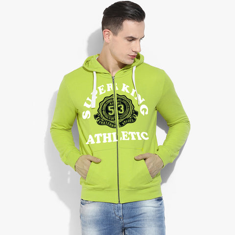 "Men's ""Super King"" Printed Zipper Hoodie-Lime-SKHLM05"