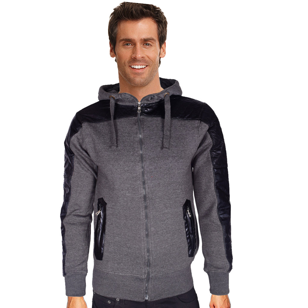 "Men's ""G-STORM"" Fashion Zipper Jacket with Leather Patch & Zip Pockets-Charcoal"