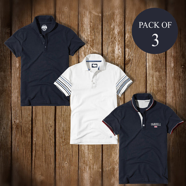Pack Of 3 Polo Shirts For Men -AT24
