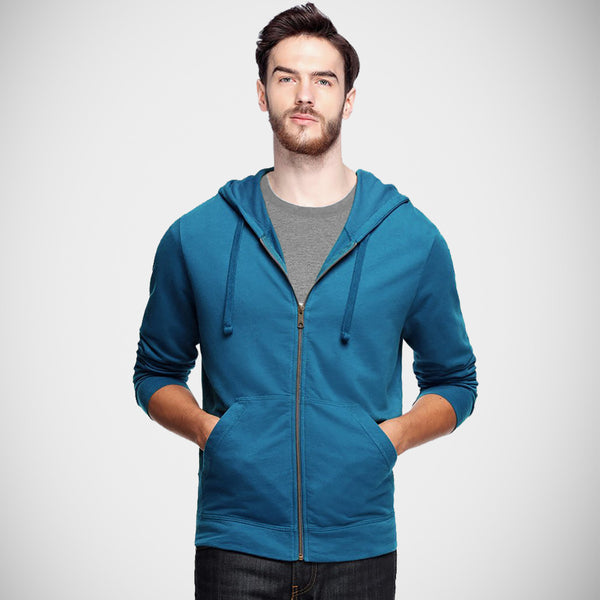 "Men's ""CR"" Solid Fashion Zipper Hood-Ferozi"