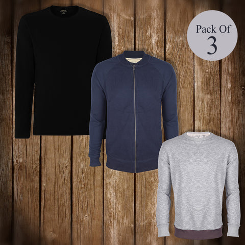 Pack Of 3 Sweat Shirts For Mens-AT08