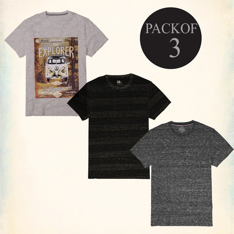Pack Of 3 T Shirt For Men-AT58