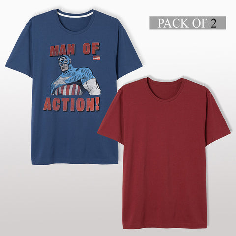 Pack Of 2 T Shirt For Men-AT26
