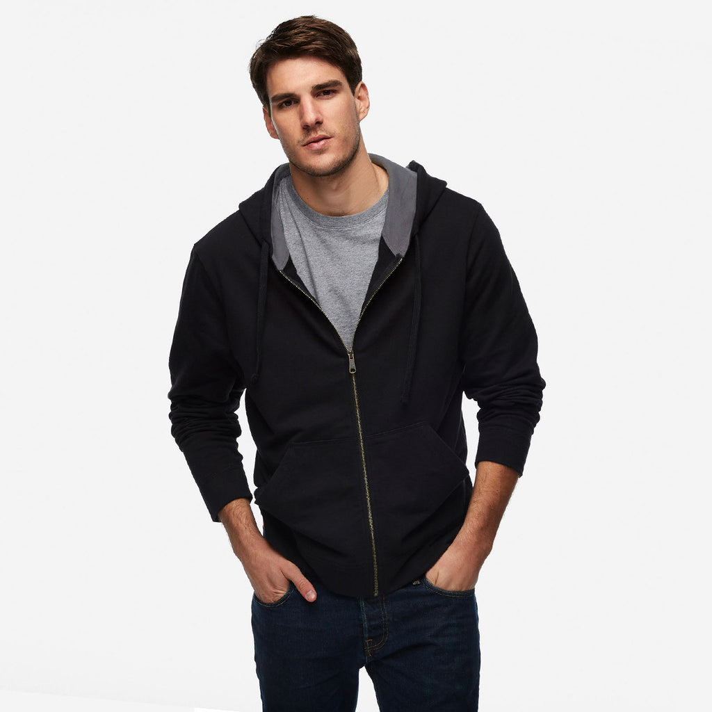 "Men's ""CR"" Solid Fashion Zipper Hood-Black"