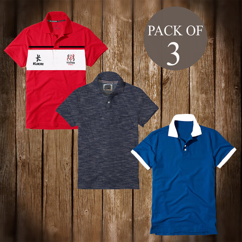 Pack Of 3 Polo Shirts For Men -AT70