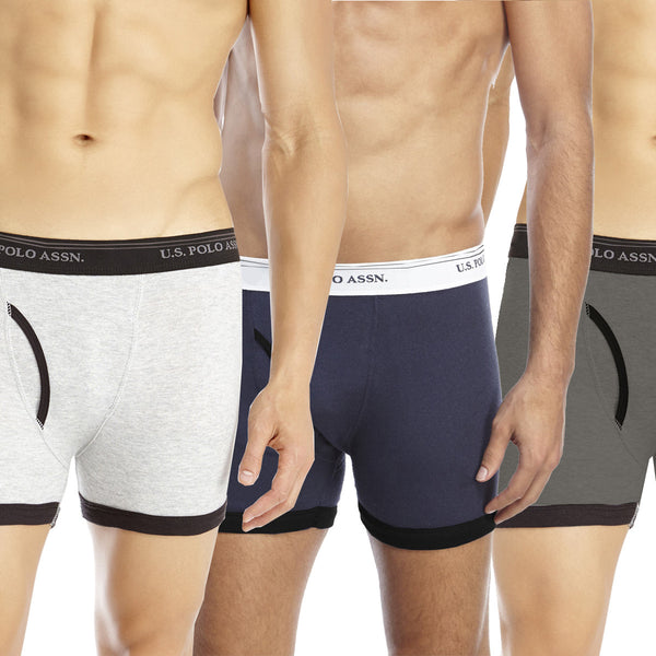 "3 Pack Of Men's ""U.S Polo"" Boxer Shorts-ASORTED-UPB2"