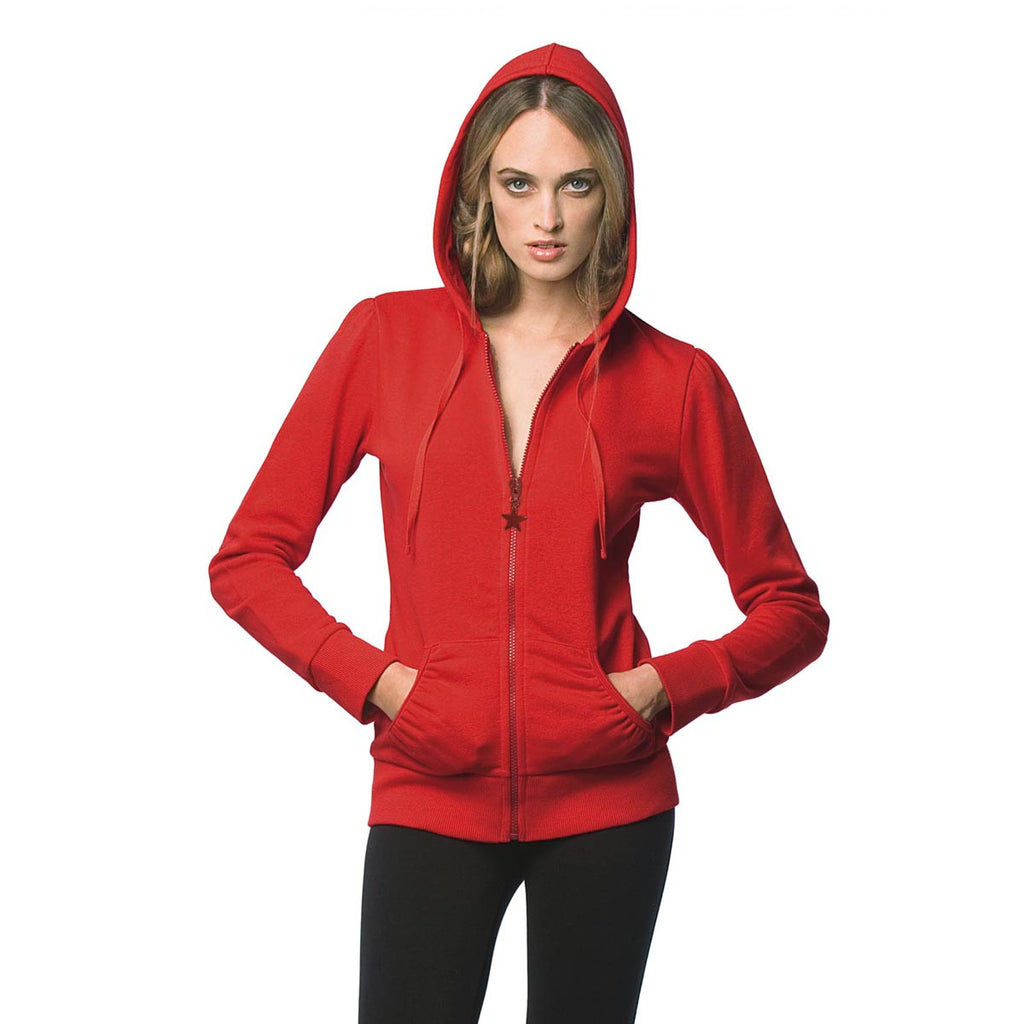 "Ladies ""B&C"" Solid Fashion Zipper Hoodie-Red-L42"