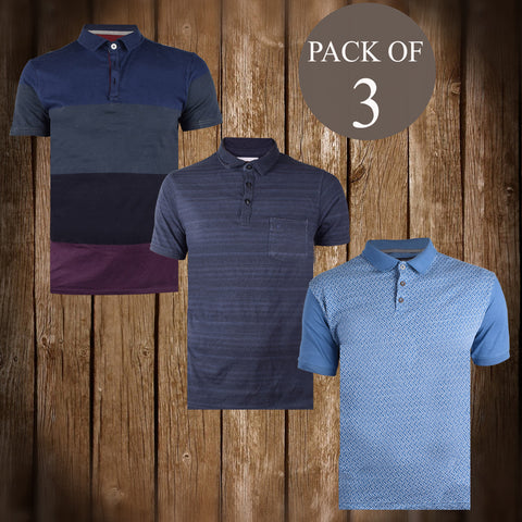 Pack Of 3 Polo Shirts For Men -AT72