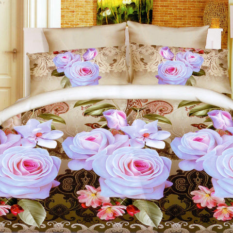 5D Oker's Island 100% Cotton Sutton Printed Double Bed Sheet & Pillow Set(1031)