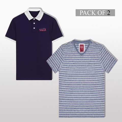 Pack Of 1 Polo & 1 V Neck Shirt For Men -AT41