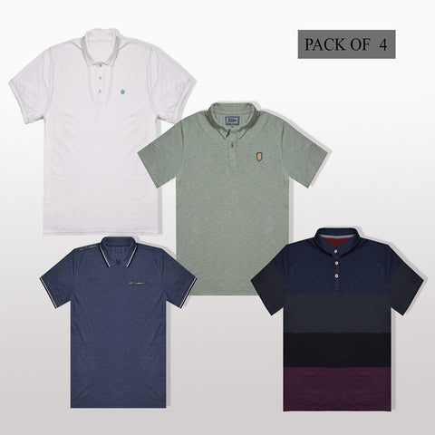 Pack Of 4 Polo Shirt For Men -AT44