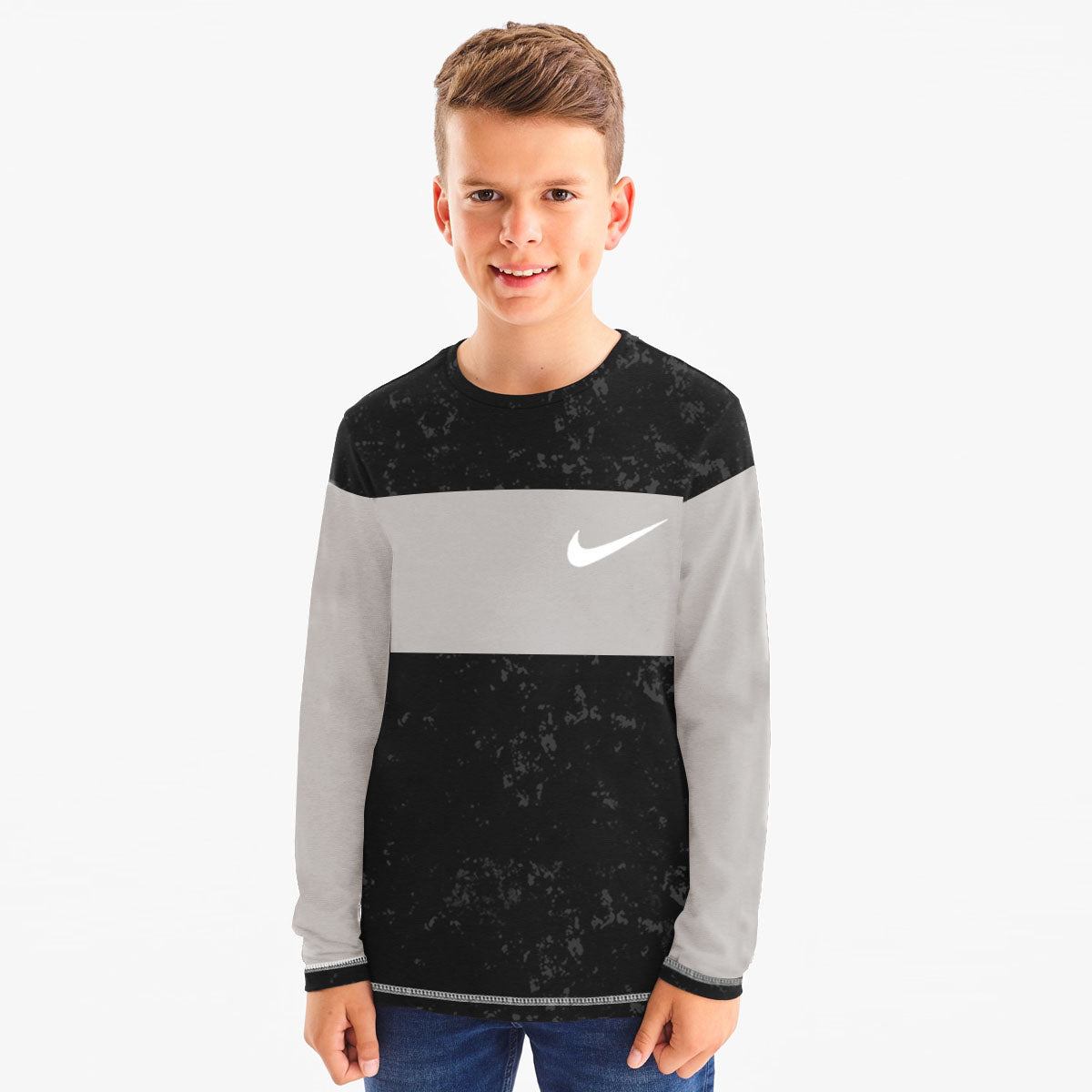 NK Crew Neck Single Jersey Long Sleeve Tee Shirt For Kids-Black Faded With Grey Panel-SP3523