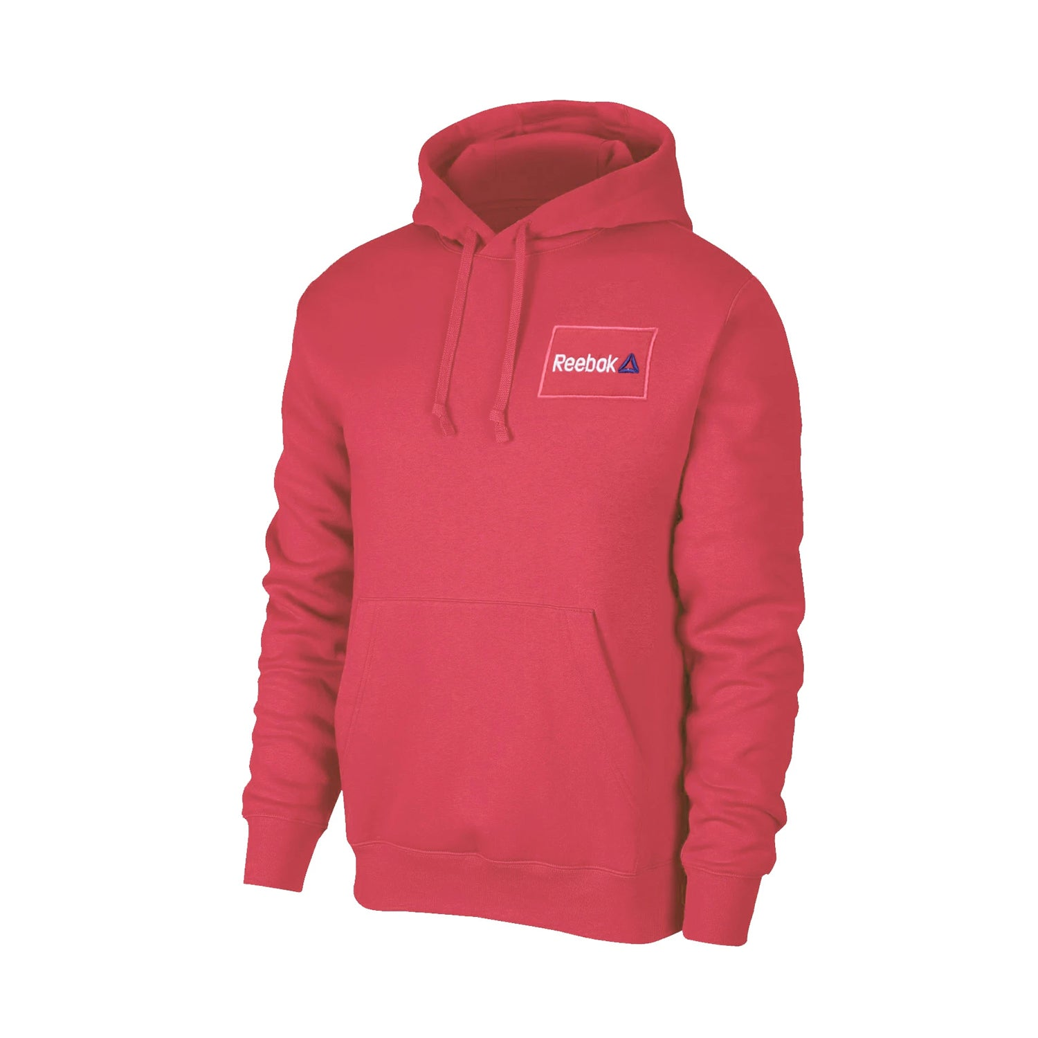 Reebok Fleece Pullover Hoodie For Men-Coral Pink with White Embroidery-BE13473