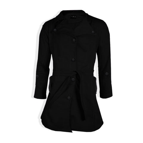 "Ladie's "" Coco "" Stylish Long Trench Coat -Black-LC04"
