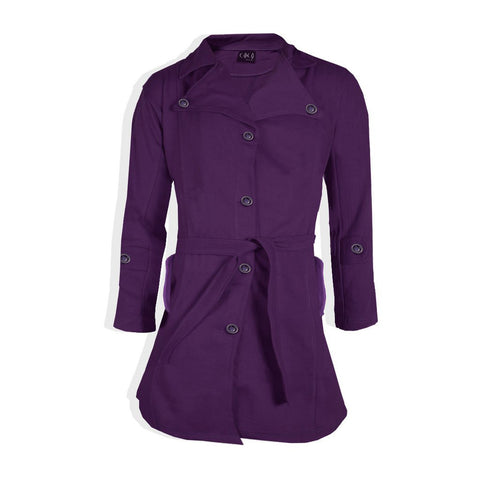 "Ladie's "" Coco "" Stylish Long Trench Coat -Dark Purple-LC03"