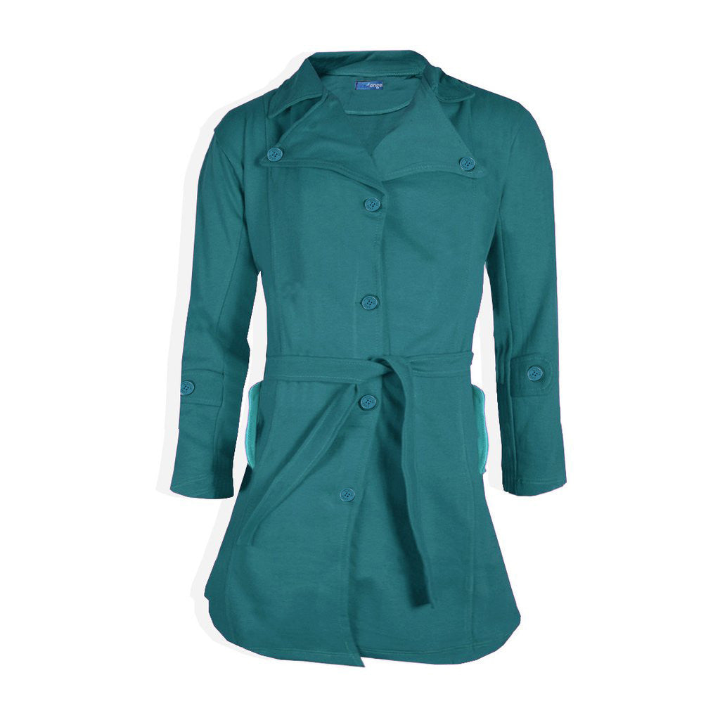 "Ladie's "" Like an Angel "" Stylish Long Trench Coat -Sea Green-LC05"