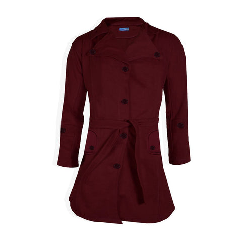 "Ladie's "" Like an Angel "" Stylish Long Trench Coat -Burgundi-LC02"