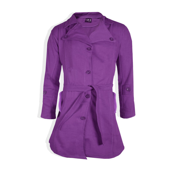 "Ladie's "" COCO "" Stylish Long Trench Coat -Light Purple-LC01"