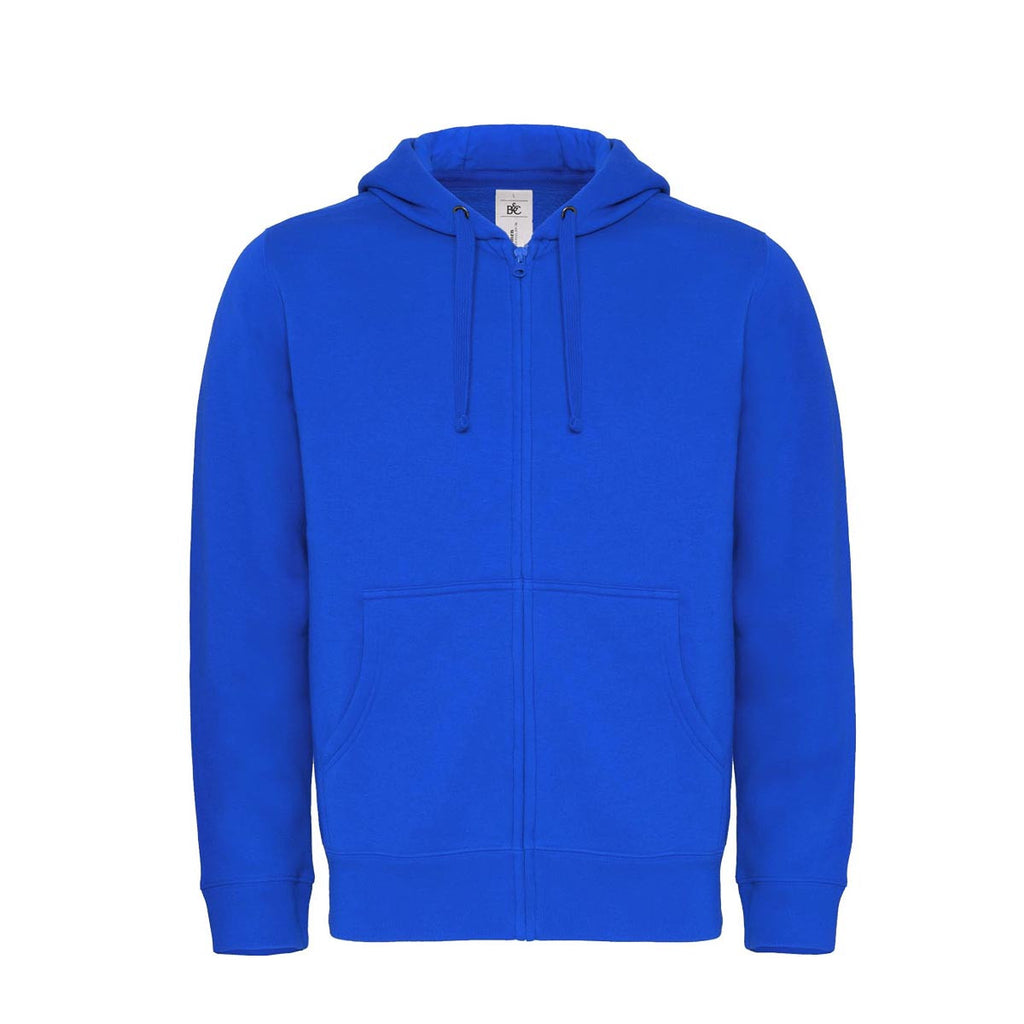 "Men's ""B&C"" Solid Zipper Hoodie-Royal Blue-M43"