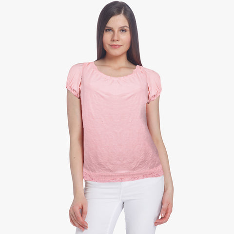 Janina Short Sleeve Blouse For Ladies-Pink-BE1056