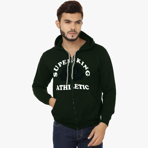 "Men's ""Super King"" Printed Zipper Hoodie-Dark Green-SKHDG11"