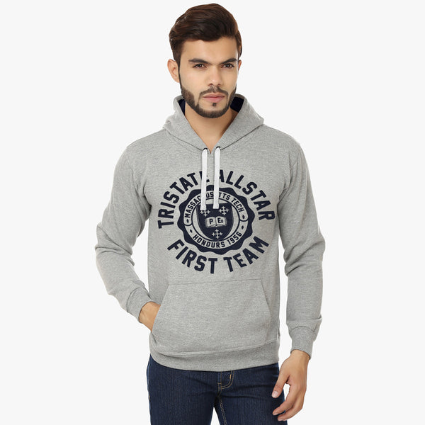 "Men's Cut Label ""Next"" Pullover Printed Hoodie-Gray-BE487"