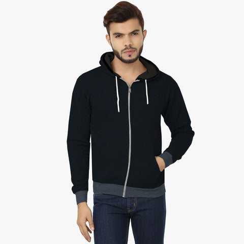"Mens Cut Label ""Next"" Zipper Hoodie Fleece -Blue Melange-CLH33"