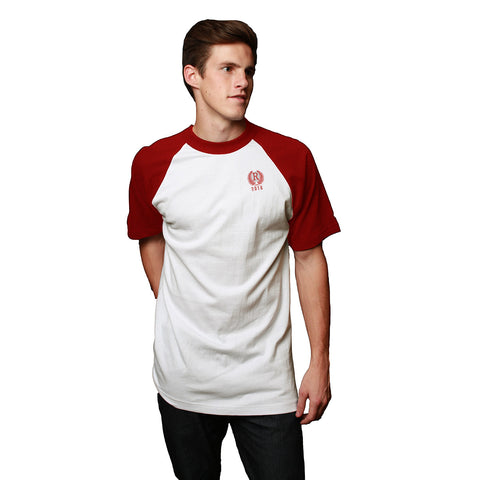 Next Raglan Sleeve Crew Neck T Shirt For Men-Off White & Red-BE2084