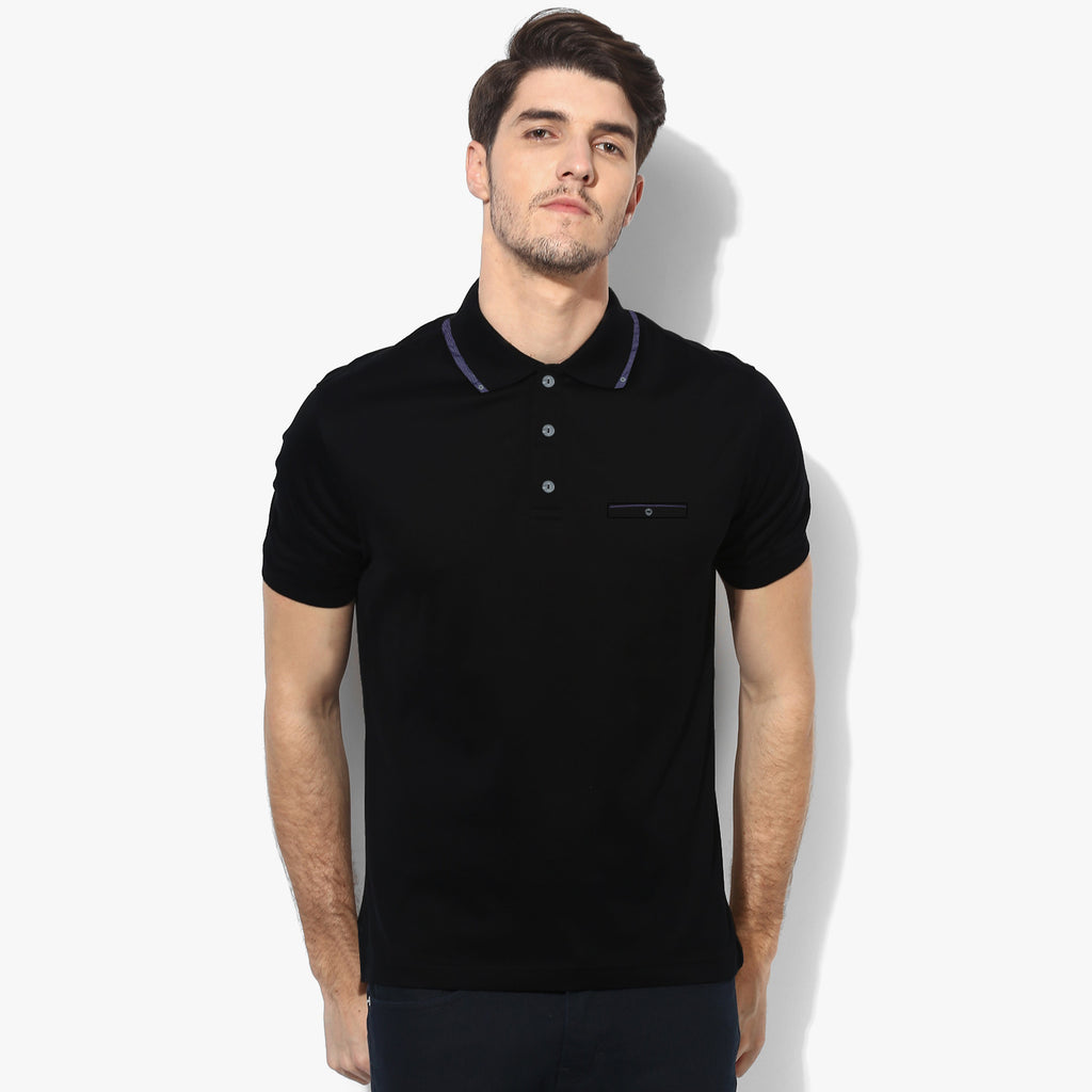 George Polo Shirt Pocket Style For Men Cut Label -Black-BE1030