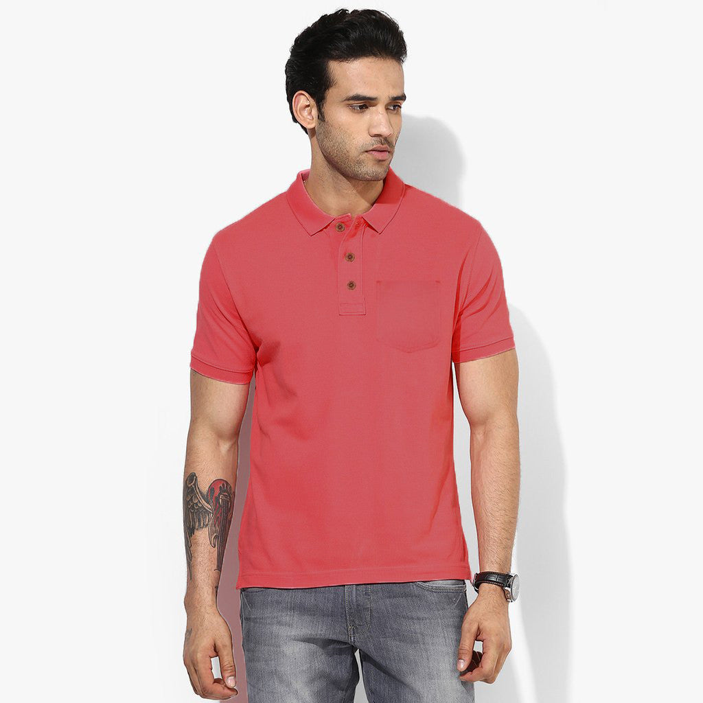 Men's Fat Face Cut Label Stylish Polo Shirt-Light Red-FF0555