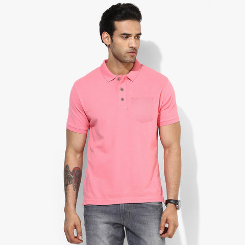 Men's Fat Face Cut Label Stylish Polo Shirt-Pink-FF021